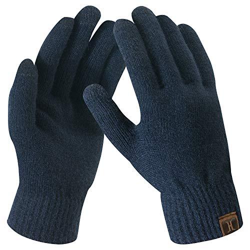 Bequemer Laden Damen Winter Warme Touchscreen Handschuhe Dunkelblau