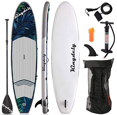 Kingdely Inflatable Stand Up Paddle Board, 6'' Thick, Comes with Durable SUP Accessories & Portable Carry Bag, Non-Slip Deck, Leash, Paddle and Pump, Standing Boat for All Ages(Seaweed)