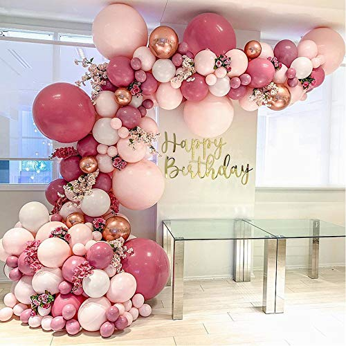 Pink Balloon Arch Rosette kit, Various Sizes of Pink and Gold Latex Balloons. Shower for Baby, Wedding, Birthday, Graduation Day, Girls' Party Decorations.