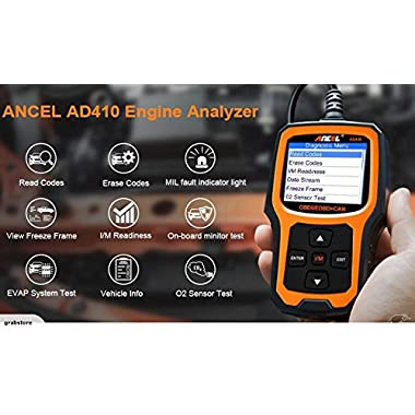 ANCEL AD410 Enhanced OBD II Vehicle Code Reader Automotive OBD2 Scanner Auto Check Engine Light Scan Tool (Black/Yellow)