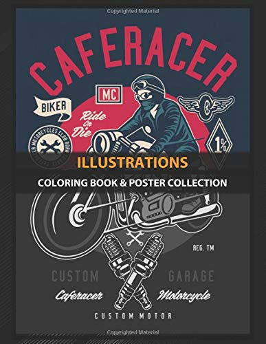 Coloring Book & Poster Collection: Illustrations Caferacer Club Cartoons