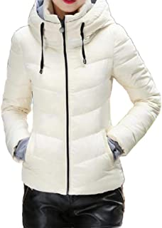 EnergyWD Womens Stand Collar Hood Warm Plus Size Pockets Quilted Jacket
