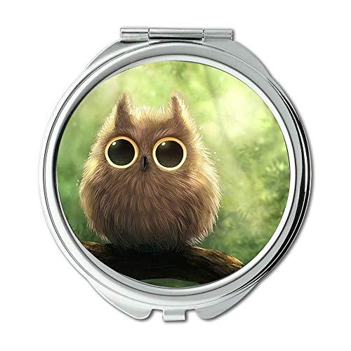 Spiegel, Compact Spiegel, Eulen-Duschvorhang niedlichen Eulen-Tapete Tier, Taschenspiegel, tragbarer Spiegel