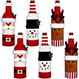 6 Pieces Christmas Sweater Wine Bottle Cover, Handmade Wine Bottle Sweater for Christmas Decorations Cute Christmas Sweater Party Decorations