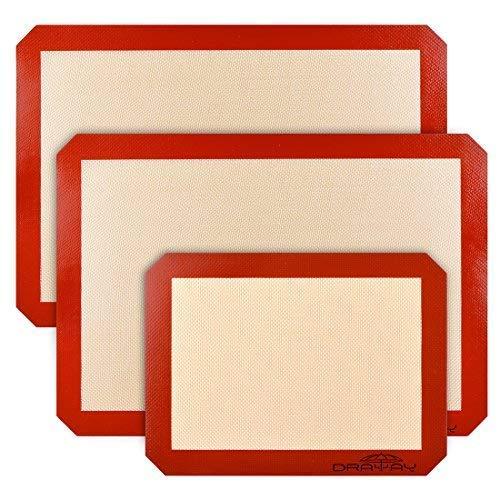 Draway Tappetino da forno in silicone antiaderente e lavabile, confezione da 3 pezzi