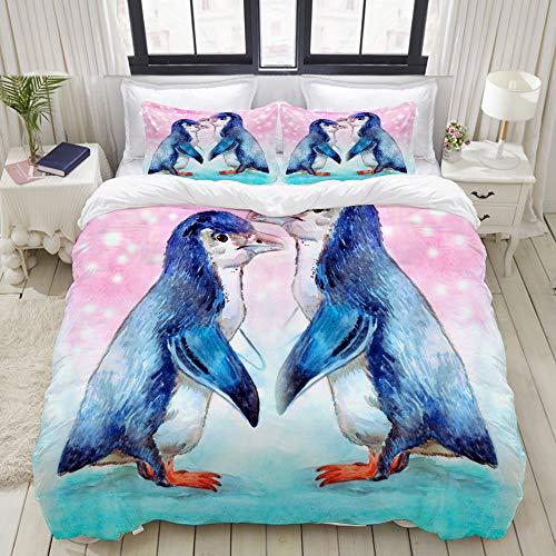 Duvet Cover Set,Painting Watercolor Penguin Art Sketch, Colorful Decorative 3 Piece Bedding Set with 2 Pillow Shams, Twin Size