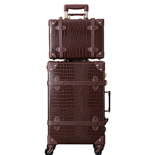 Fashion and Exquisite Suitcase Luxury Rolling Trunk with Crocodile Pattern for Youth (Brown Set, 60 cm (47 litres))