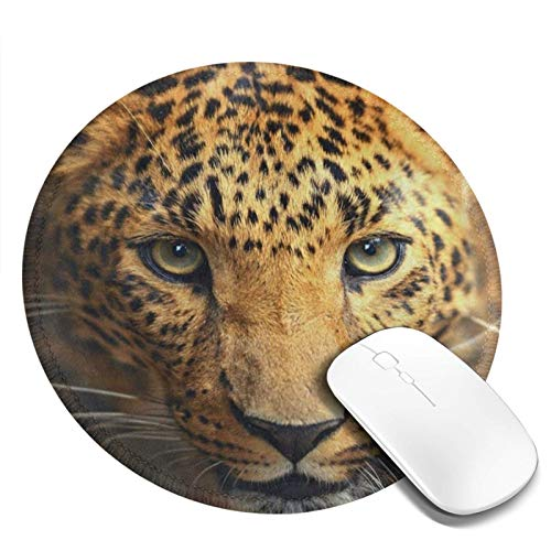 Mouse Pad Round for Kids Cool Leopard Eyes Face Animal Print Mini Cute Mouse Pad Mat Women Girls Cool Personalized Gaming Non Slip Mousepad for Computer Laptop Office Non Slip