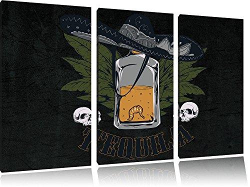 Worm Tequila BlackFoto Canvas 3 deel | Maat: 120x80 cm | Wanddecoraties | Kunstdruk | Volledig gemonteerd