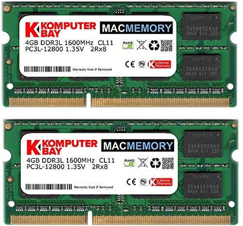Komputerbay MACMEMORY 8GB (2X 4GB) DDR3 PC3-12800 1600MHz SODIMM 204-Pin Memoria del Ordenador portátil para Apple Mac