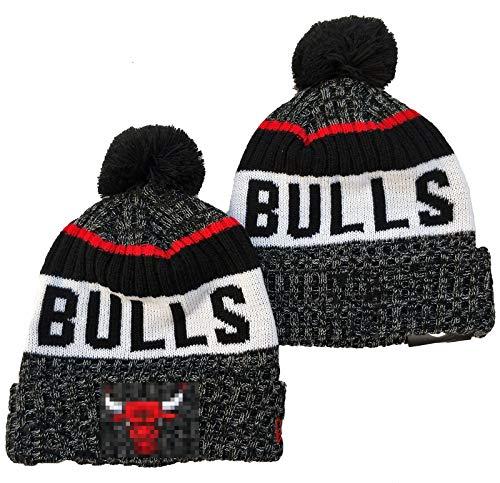 FDRYA Bulls Basketballkappe, Mütze Hut mit Pom Pom - gefesselten Winter Strick Tasque Cap A-One Size