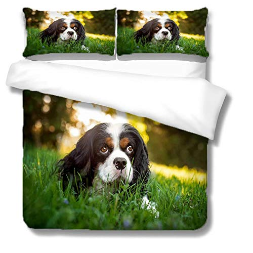 Duvet Single Black And White Shepherd 3D Printed Duvet Cover With Zipper Closure 3 Pieces Super Microfiber Bedding Set With 2 Pillowcases Double Duvet Cover Set,135X200