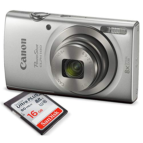 Canon PowerShot ELPH 180 Digital Camera (Silver) +...