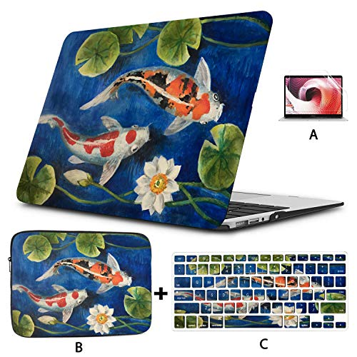 Macbook Accessories Colorful Koi Fish In A Pond Macbook Air Laptop Case Hard Shell Mac Air 11'/13' Pro 13'/15'/16' With Notebook Sleeve Bag For Macbook 2008-2020 Version