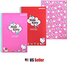 Sanrio Hello Kitty Simple Lined Slim Spiral Notebook Note Pad (Set of 3)