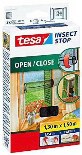 tesa Fliegengitter zum Öffnen und Schließen, anthrazit 1,3m:1,5m