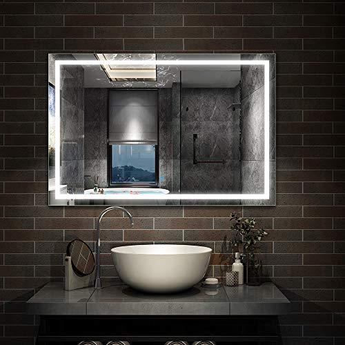Aicait 120x70cm Specchio per Trucco da Parete a Parete con Specchio a LED per Il Bagno a Parete a LED Nuovo Pulsante,Bianco Freddo,Anti-Appannamento