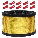 テントロープ パラコード タープロープ ガイロープ 反射 ガイライン 自在金具付き 50m アルミ自在金具 ボビン巻 キャンプ ロープ 4mm/5mm 耐久性 (イエロー(直径3mm))