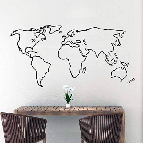 mlpnko Bunte Weltkarte Wandtattoo Wohnzimmer abnehmbare Kinderzimmer Dekoration Vinyl Kunst Aufkleber 50x100cm