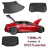 Alfombrilla de carga/maletero delantera y trasera Tapetes para Tesla Modelo 3 - Protector contra la intemperie TPE impermeable y antiarañazos, 1 x alfombrilla delantera + 2 x alfombrilla trasera