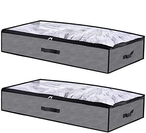 Cozywind Unterbettkommode 2er Set Platzsparend Atmungsaktiv Unterbett Aufbewahrungstasche für Decken Kissen Kleidung 100x50x18cm(90 Liter) (Dunkelgrau)