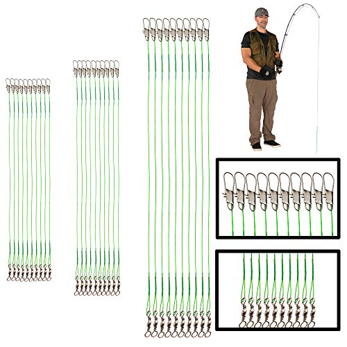 Fishing Leaders with Swivels Assortment – Fishing Leader Line for Fishing Rigs Saltwater & Freshwater – Steel Leader Fishing Swivels...