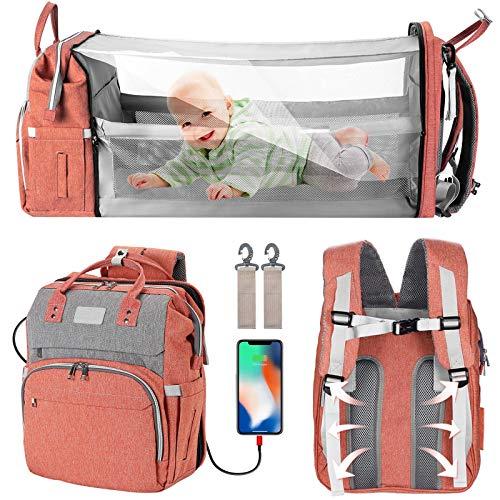 Waterproof crib 6 in 1 multi-functional mommy backpack