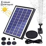 AISITIN 6.0W Solar Fountain Pump, Solar Water Pump Floating Fountain Built-in 1200mAh Battery, with 6 Nozzles, for Bird Bath, Fish Tank, Pond or Garden Decoration Solar Aerator Pump