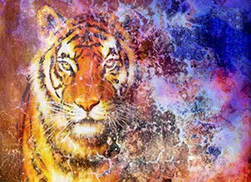 fdgfd Cabeza de Tigre en el Espacio con imágenes de Animales de Estrellas, Pinturas en Lienzo, Carteles artísticos de Pared para Sala de Estar, 40X50Cm sin Marco