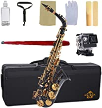 Kaizer Alto Saxophone E Flat Eb Black Lacquer Body Gold Keys 1000 Series Sax Includes Case Mouthpiece and Accessories ASAX-1000BKGK