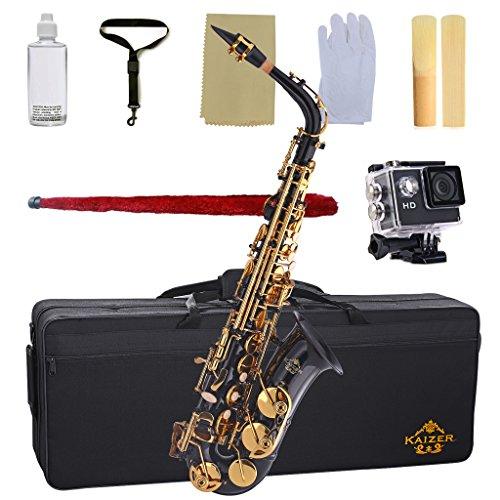 Kaizer Alto Saxophone E Flat Eb Black Lacquer Body Gold Keys 1000 Series Sax