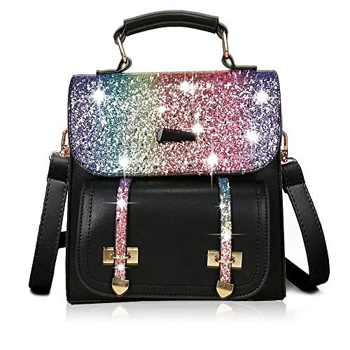 Flywill Ladies Glitter Bling Backpack Sequins Rucksack Sparkle Daypack with Adjustable Shoulder Straps Large Capacity Shoulder Bags Casual Cross Body Bag Fashion School Travel Bag Totes Bag, Black