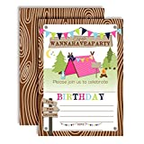 Camping Birthday Party Invitations for Girls, 20 5'x7' Fill in Cards with Twenty White Envelopes by AmandaCreation
