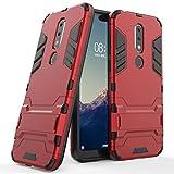 Hülle für Nokia X6 / Nokia 6.1 Plus (5,8 Zoll) 2 in 1 Hybrid Dual Layer Shell Armor Schutzhülle mit Standfunktion Hülle (Rot)