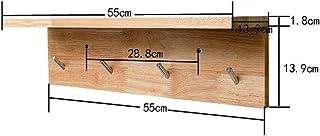 SCH-SC ウォールシェルフ 浴室用ラック ウォールハンガー木製ベッドルームエントランスウォールハンギング現代のミニマリストCoatrackアップコートラックコートラックハンガーフックがラックであるクリエイティブ(カラー:4フック) 壁掛け棚...