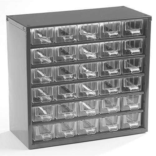 Certeo Schubladenmagazin aus Stahl   HxBxT 282 x 306 x 155 mm   30 Schubladen   Lichtgrau   Kleinteilelager Klarsichtmagazin Sortimentkasten