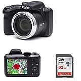 Kodak AZ401BK Point & Shoot Digital Camera with 40X Zoom, Optical Image Stabilization, Flash, 3' LCD, Black with 32GB SD Card Bundle