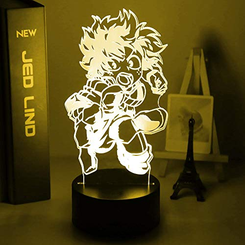 3D Illusion Lamp Led Night LightMy hero academia 7 Color Changing Desk Lamp Art Home Kid Bedroom Sleeping Decor Holiday Party Gifts-16 colors remote