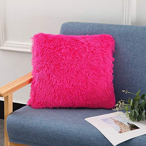 IronheadFluffy Plush Pillow Cover Square Decorative Throw Pillow Cover Soft Cushion Cover Pillowcases Without Core for Livingroom Couch Sofa Nursery Bed Home Decor_color:rose