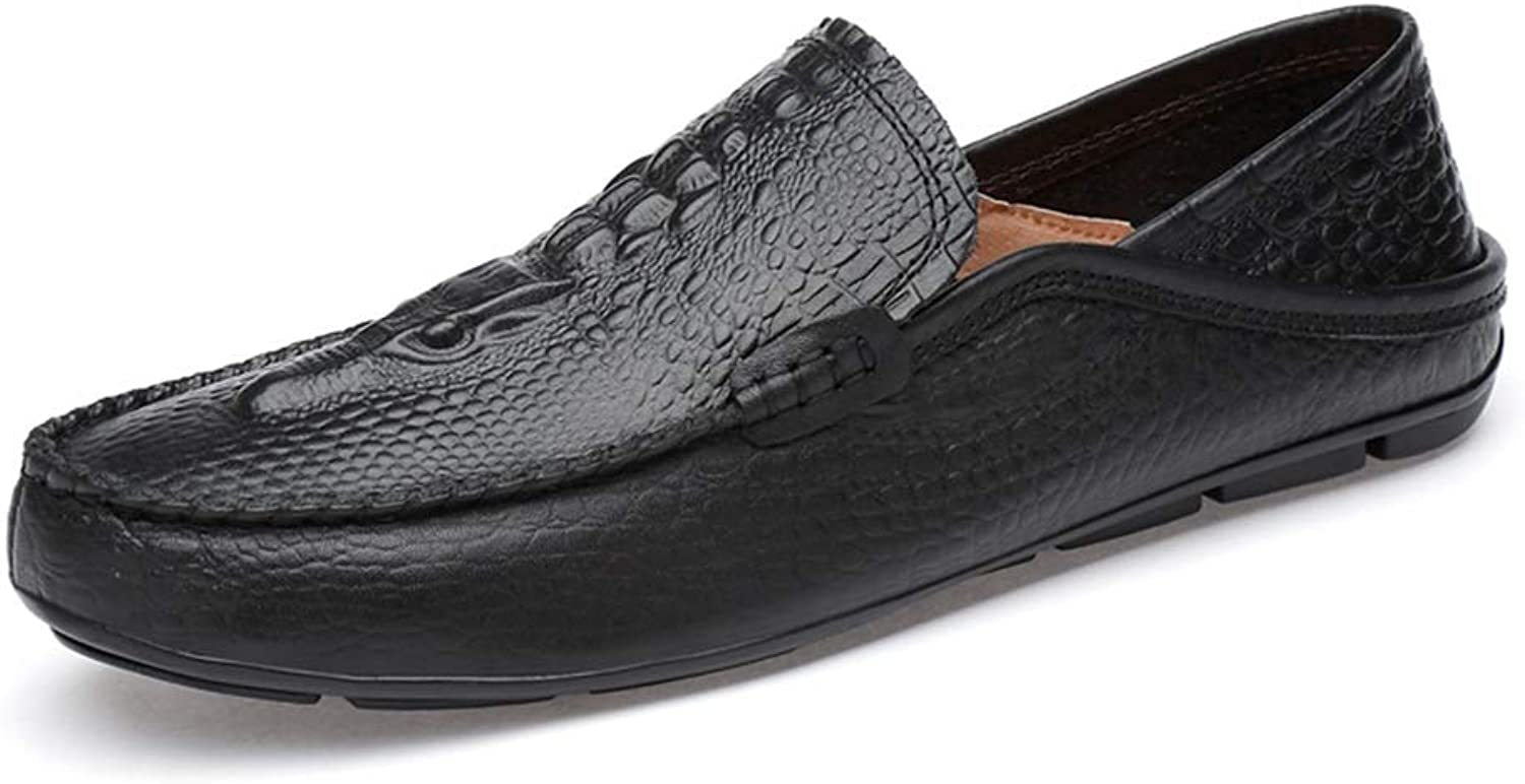 SRY-Fashion shoes Casual Dress Boat shoes for Men Breathable Loafers Bland Leather Speed Hand-Made Oxford shoes Slip On Round Toe