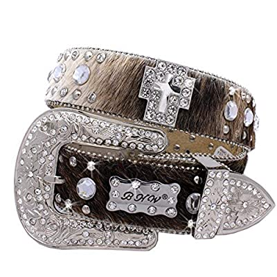 1335 Womens Cowgirl Western Belts Cowgirl Bling Belts Rodeo Belts Plus Size Western Belts For Cowgirls (BROWN-COWHIDE-CLEAR, Medium)