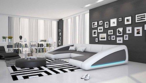 Wohn-Landschaft XXL mit LED-Beleuchtung in grau/weiß 355x200 cm U-Form | Sanassi-U | Design Couch-Garnitur XXL aus Kunstleder | Polster-Ecke für Wohnzimmer grau/Weiss 355cm x 200cm