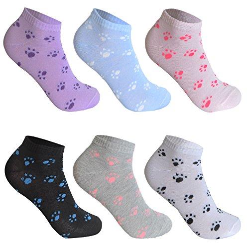 L&K-II 12 Paar Damen Sneaker Socken Mädchen Füßlinge Bambus mit Ringel Punkte Muster 92279 39-42