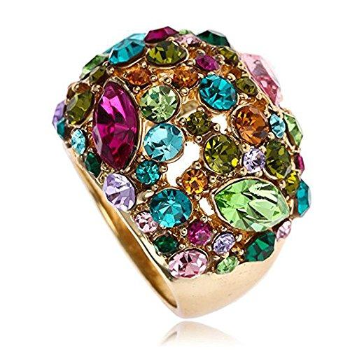 Claire Jin Bunte Strass Gypsophila Ringe für Damen Luxuriöse Glitzer Anweisungs Ring die Modische schmuck (57 (18.1))
