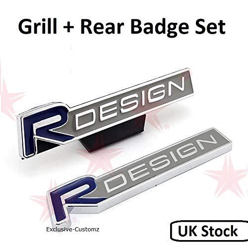 Exklusive-Customz R Design Frontgrill + Heckklappe Abzeichen Emblem Aufkleber Logo Aufkleber blau passend für Volvo C30 V40 V50 V60 V70 V90 S40 S50 S60 S90 XC60 XC90 passend für alle Modelle
