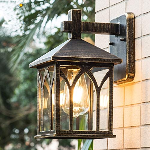 Photo of FNCUR Square Glass Lantern Wall Sconce Light Vintage Outdoor Waterproof Rustproof Wall Lamp Outside Decoration Aluminum Metal Wall Lantern for Corridor Villa Patio Garden (Color : Black Gold)