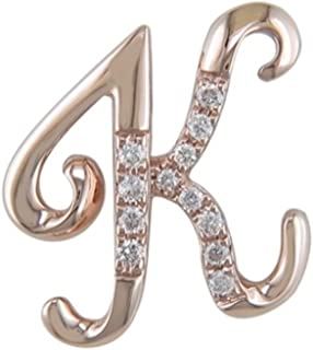 18K Rose Gold Initial K Pave with Diamond Pendant (75)