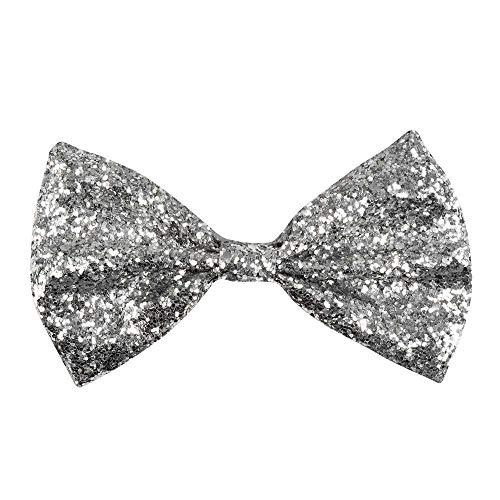 Boland 53111 - Fliege Glitter, Silber, Größe ca. 13 cm, Gummiband, schmale Ausführung, glänzend, Kostüm, Karneval, Halloween, Fasching, Mottoparty