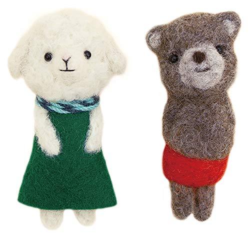 ハマナカ 羊毛フェルトキット フェルト羊毛でつくる小さなブローチ ひつじのメリーと赤パンくん(チャグマ) H441-557