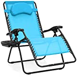 Best Choice Products Oversized Folding Mesh Zero Gravity Recliner Chair w/Cup Holder Accessory Tray and Removable Pillow, Light Blue